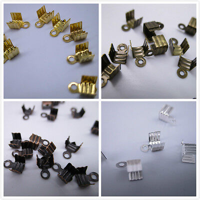 50/200/1000pcs Metal Folding End Crimps Tips Cord Caps Jewelry Finding 6*4mm
