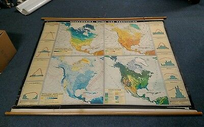 Denoyer geppert pulldown vintage map climate temperature north america school