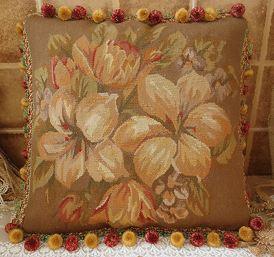 """18"""" Vintage Hand Woven Big Floral French Country Wool Aubusson Pillow Cushion"""
