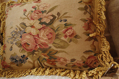 "20"" Beautiful Vintage Hand Woven Pink Rose Bunch Garland Aubusson Pillow"
