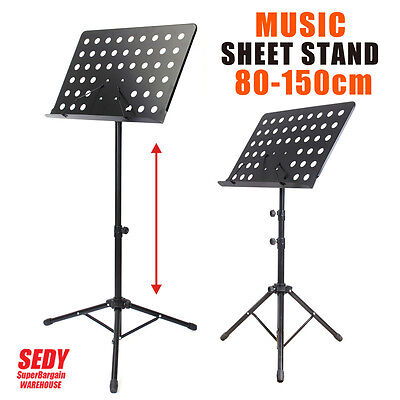 Music Sheet Stand Adjustable Folding Large Professional Stage Black Book Stand