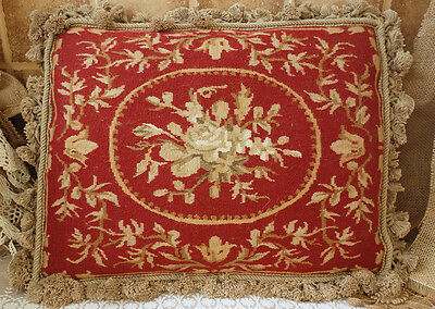 "20"" Old Antique Vintage Shabby Traditional Red Wool Aubusson Pillow Cushion"