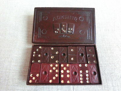 RARE! Vintage RED & BROWN Bakelite TESTED Dominoes w/ ORIGINAL Box - 28 pieces