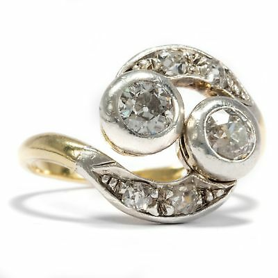 Jugendstil um 1905: Toi et Moi RING 750 Gold, Silber & Diamanten Diamant Diamond