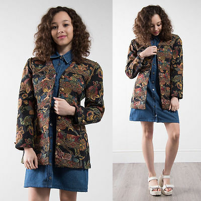 Vintage Floral Pattern Tapestry Blazer Jacket Womens Smart Country Style 8