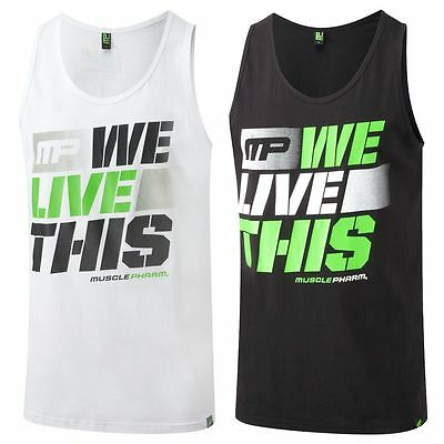 """2016 MusclePharm Basic """"We Live This"""" Logo Fitness Vest Mens Sports Tank Top"""