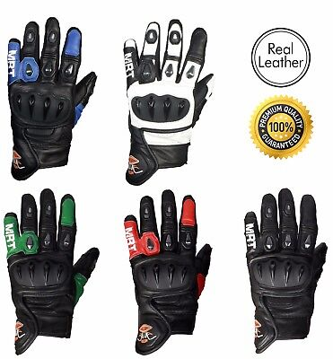 Motorbike Motorcycle Racing Gloves Knuckle SPS Protection Premium Real Leather