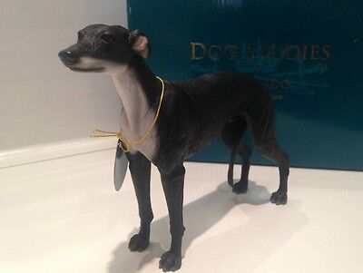 Black Greyhound Dog Standing Leonardo Collection Resin Ornament Figure Bnib