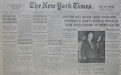 8-1932 August 27 OSLO FLIERS MISSING GASOLINE EXHAUSTED. HOOVER ERIS CRISIS OVER