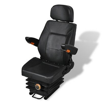 #bNEW Tractor Seat with Armrest and Headrest with Spring  Tracks and Suspension