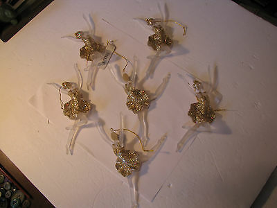 Acrylic Ballerina Ornament Lot: Six Dancers With Gold Sparkle Tutu For Class
