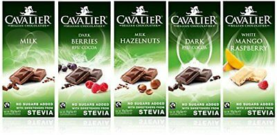 CAVALIER NO ADDED SUGAR 85g. CHOCOLATE BARS SWEETENED WITH STEVIA/ MALTITOL