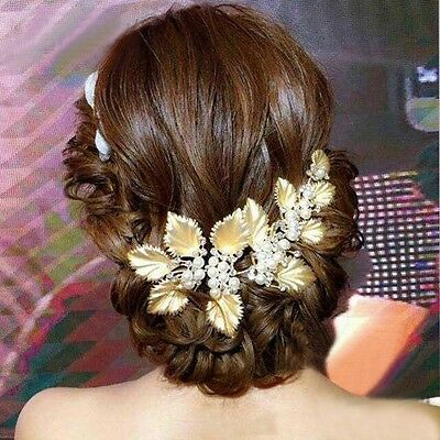 Bridal Wedding Hair Accessory Gold Crystal Pearl Fascinator Headpiece Jewelry