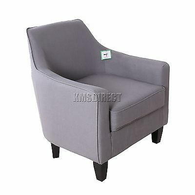 FoxHunter Linen Fabric Tub Chair Armchair Dining Living Room Lounge TC04 Grey