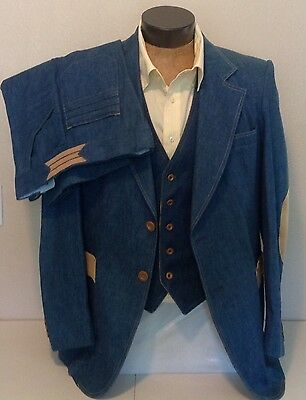 VTG 3 Piece Blue Denim Corduroy Patch Suit Flare Pants Reversible Vest H.I.S