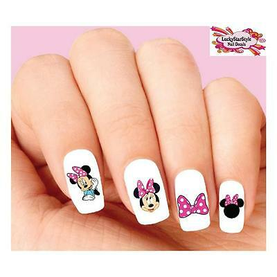 Waterslide Nail Decals Set of 20 - Minnie Mouse with Pink Bow Assorted