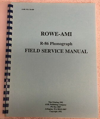 Rowe AMI R-86 Jukebox Phonograph Field Service Manual *FREE SHIPPING*