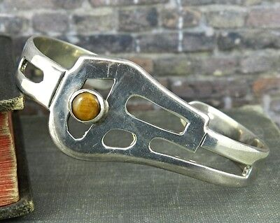 Signed Mexico Sterling Silver & Tigers Eye Cuff Bracelet