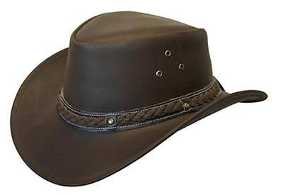 NEW Conner Crushable Water Proof LEATHER Outback Western Cowboy Hat Brown A1001