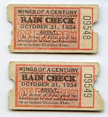 1934 Wings of a Century Chicago Worlds Fair Rain Check Ticket - JR959