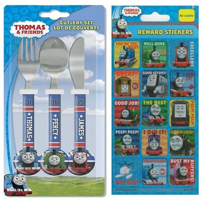 Childrens Thomas Racing Friends Cutlery Set + Rewards Stickers Gift Age 3 - 4