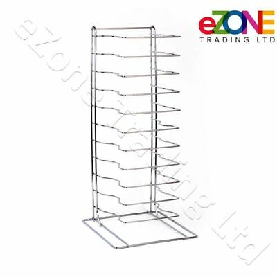 Pizza Pan Rack 11-Slot Shelf Stand for Stacking Deep Pans Trays Screen Separator