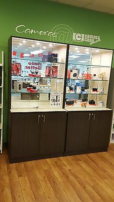 Retail Store Tall Glass Display Case Shelves Lights and Locking Cabinet