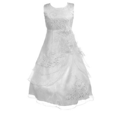 New Girls First Holy Communion Wedding Bridesmaid Party Flower Sequin Dress