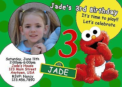 Elmo Birthday Invitation, Elmo, Sesame Street, Invitations