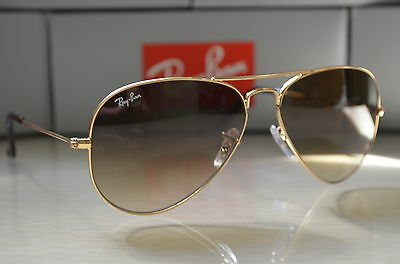 RAY BAN AVIATOR RB3025 Sunglasses Light Brown Gradient Lens, Gold Frame - Medium