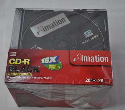 Imation CD-R Black 20 Pack of New Sealed Discs with Cases 700MB/80 16x 80 Min