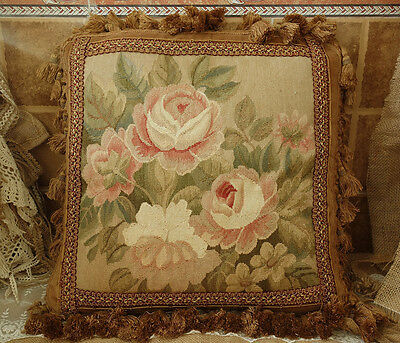 """19"""" Vintage Beautiful Rose Floral Chic Shabby Tapestry Aubusson Pillow"""