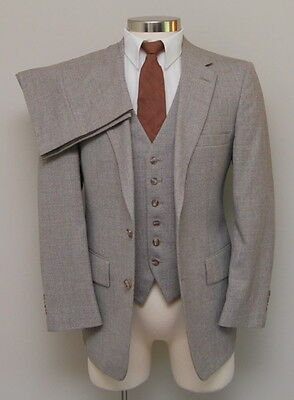 Vintage Mens 38S Botany 500 3 Piece Brown Multicolor Wool Suit