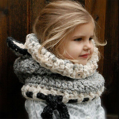 Winter Beanie Baby Child Animal Fox Hat Hooded Scarf Earflap Knit Caps Soft Wool