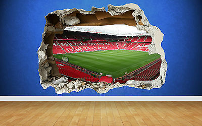 Old Trafford 3D Smashed Wall Sticker Man U Manchester Bedroom Boys Art Decal