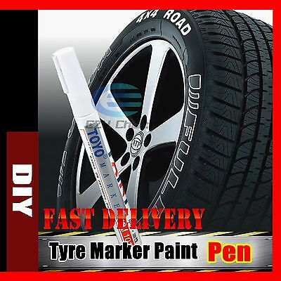 2x White Car Motorcycle Cool Tyre Tire Tread Paint Marking Pen Marker Waterproof