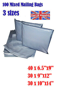 100 Mixed Mailing Bags Strong Grey Plastic Poly Postal Postage 3 Sizes Auct 1 4U