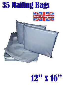 35 Mailing Bags 12x16 Cheap Strong Grey Plastic Poly Postal Postage  Auct 4 4U