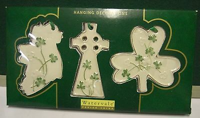Ireland Watervale Parian China Hanging Decorations Map/cross/shamrock Pack Of 3