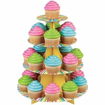 Wilton COLOR WHEEL Cupcakes Stand Cakes Desserts Party Decoration 3 Tier Display