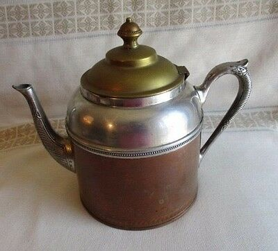 Antique Manning Bowman & Co. Tri-Color (Brass, Pewter and Copper) Teapot
