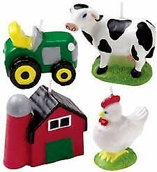 Wilton 4Pk FARM Candles Tractor Barn Chicken Cow Animal Birthday Cake Decoration