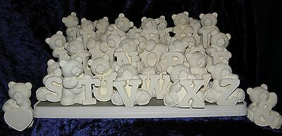 Ceramic Bisque Ready to Paint - Alphabet Bears- Make the message SPECIAL!!!