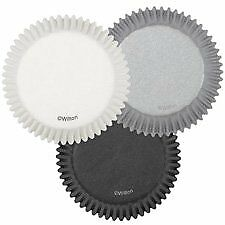 Wilton STANDARD White Black Silver Cup Cakes Muffins Baking Cases 2 Inch