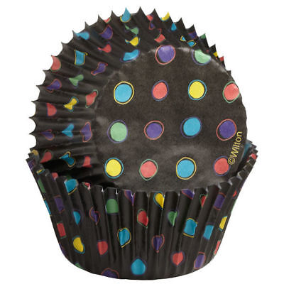 Wilton STANDARD Black Neon Dots Cup Cakes Party Baking Decorating Cases