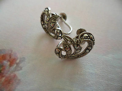 Antique Vintage Sterling Silver Marcasite Earrings Made Old Germany Ear Rings