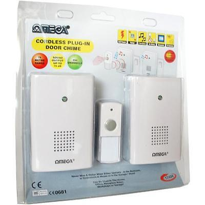 Omega 17424 Mains Plug In Cordless Wireless Door Bell Chime Twin Pack - White