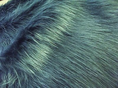 Super Luxury Faux Fur Fabric Material - LONG PILE GREY BLUE