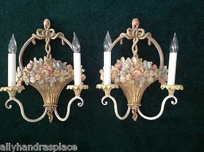Exquisite Vintage French Giltwood Flower Basket Pair Wall Sconces Italy Italian
