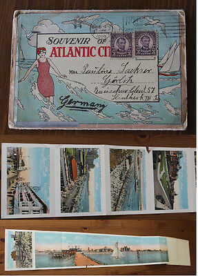 Original Souvenir Folder Atlantic City Postkarte 1929